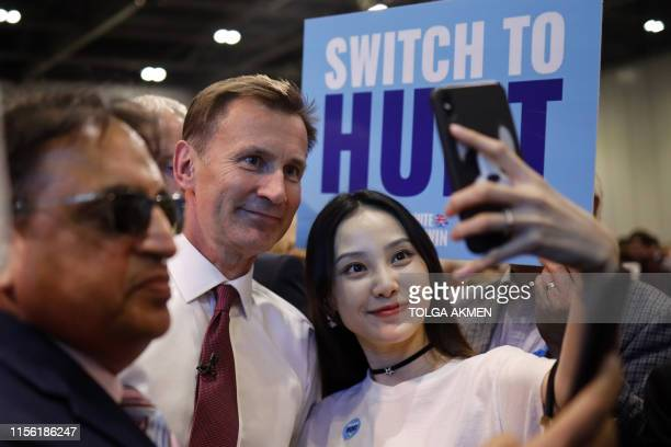 Conservative MP and leadership contender Jeremy Hunt greets supporters after adressing the final Conservative Party leadership election hustings in...