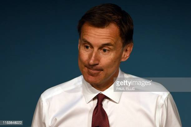 Conservative MP and leadership contender Jeremy Hunt takes part in a Conservative Party Hustings event in Darlington north east England on July 5...