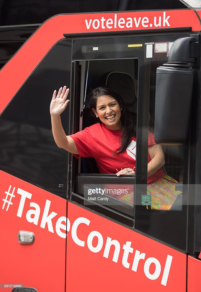 Priti Patel And Penny Mordaunt Take The Vote Leave Battle Bus To The South Coast : News Photo
