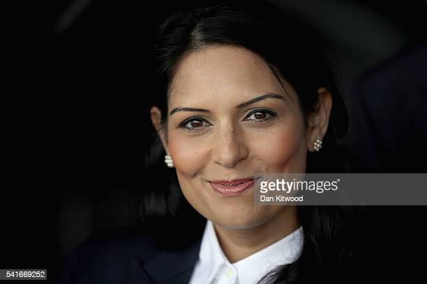 Conservative MP and 'Vote Leave' campaigner Priti Patel arrives to join veterans at White Waltham Airfield on June 20 2016 in Maidenhead England...