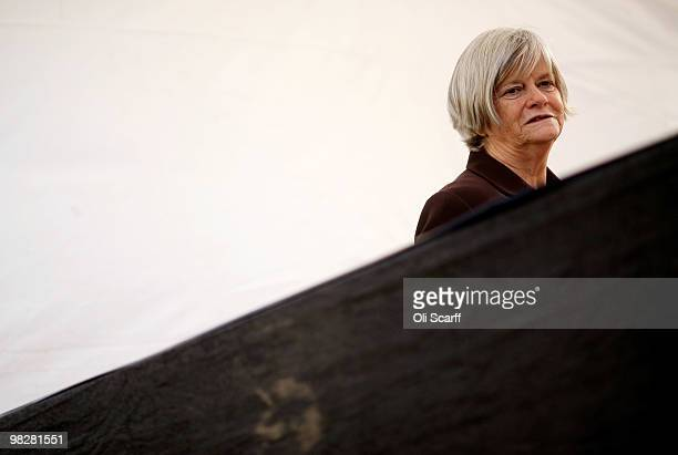 Conservative MP Ann Widdecombe speaks during a television interview near Parliament on April 6 2010 in London England Prime Minister Gordon Brown has...