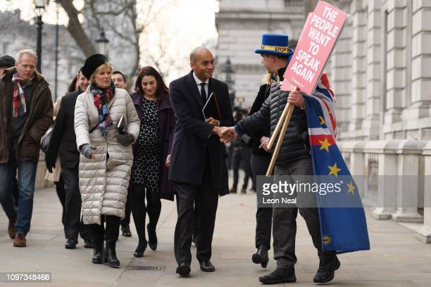 Conservative MP Anna Soubry and Labour MPs Luciana Berger and Chuka Umunna are greeted by antiBrexit protestor Steve Bray as they arrive at the...