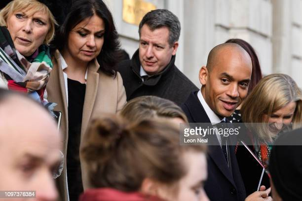 Conservative MP Anna Soubry Conservative MP Heidi Allen Labour MP Chris Leslie Labour MP Chuka Umunna and Conservative MP Sarah Wollaston leave the...