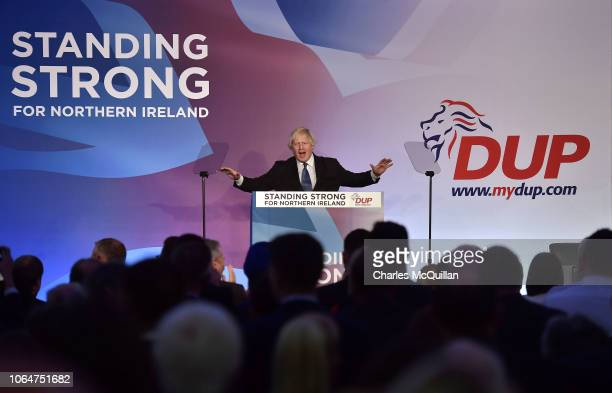 Conservative MP Boris Johnson delivers his speech during the Democratic Unionist Party annual conference at the Crown Plaza Hotel on November 24,...