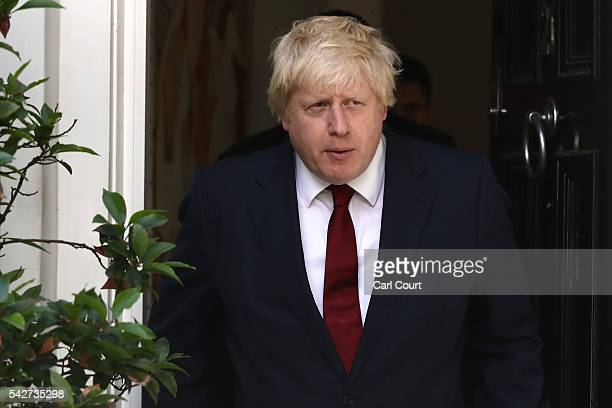 Conservative MP Boris Johnson leaves his house after British Prime Minister David Cameron resigned following the results of the EU referendum on June...