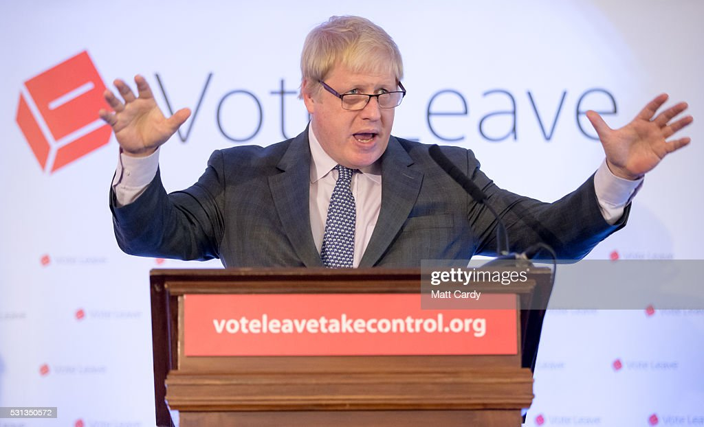 Conservative MP Boris Johnson speaks as he visits Bristol on May 14, 2016 in Bristol, England. The former London mayor Boris Johnson who is part of the Vote Leave campaign has been touring the South West of England hoping to persuade voters to back a Brexit from the European Union in the Referendum on the 23rd June 2016.