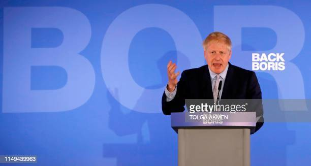 Conservative MP Boris Johnson speaks during his Conservative Party leadership campaign launch in London on June 12 2019 Boris Johnson launches his...