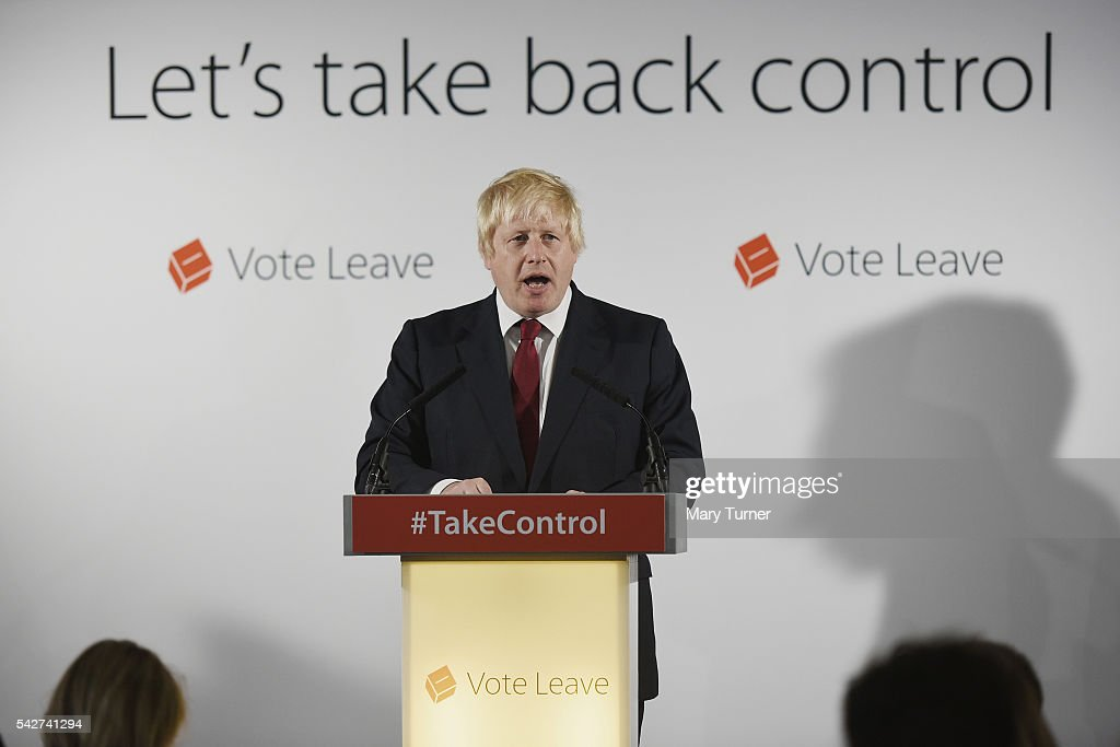 Conservative MP Boris Johnson speaks following the results of the EU referendum at Westminster Tower on June 24, 2016 in London, England. The results from the historic EU referendum has now been declared and the United Kingdom has voted to LEAVE the European Union.