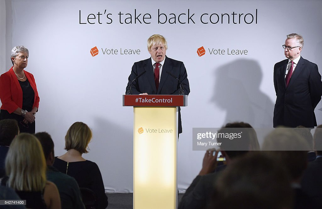 Conservative MP Boris Johnson (C) speaks following the results of the EU referendum as Labour MP Gisela Stuart and Justice Secretary Michael Gove listen at Westminster Tower on June 24, 2016 in London, England. The results from the historic EU referendum has now been declared and the United Kingdom has voted to LEAVE the European Union.