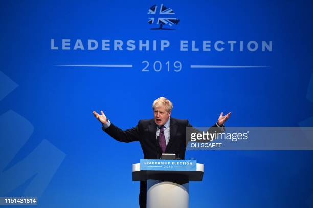 Conservative MP Boris Johnson speaks to the audience as he takes part in a Conservative Party leadership hustings event in Birmingham central England...