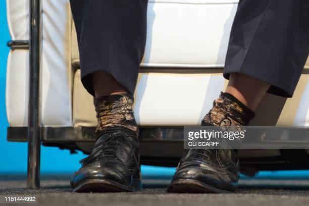Conservative MP Boris Johnson's socks on display as he answers questions from journalist Iain Dale as he takes part in a Conservative Party...