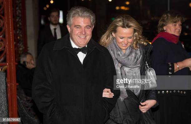Conservative MP Brandon Lewis leaves the Conservative party Black and White Ball at Natural History Museum on February 7 2018 in London England The...