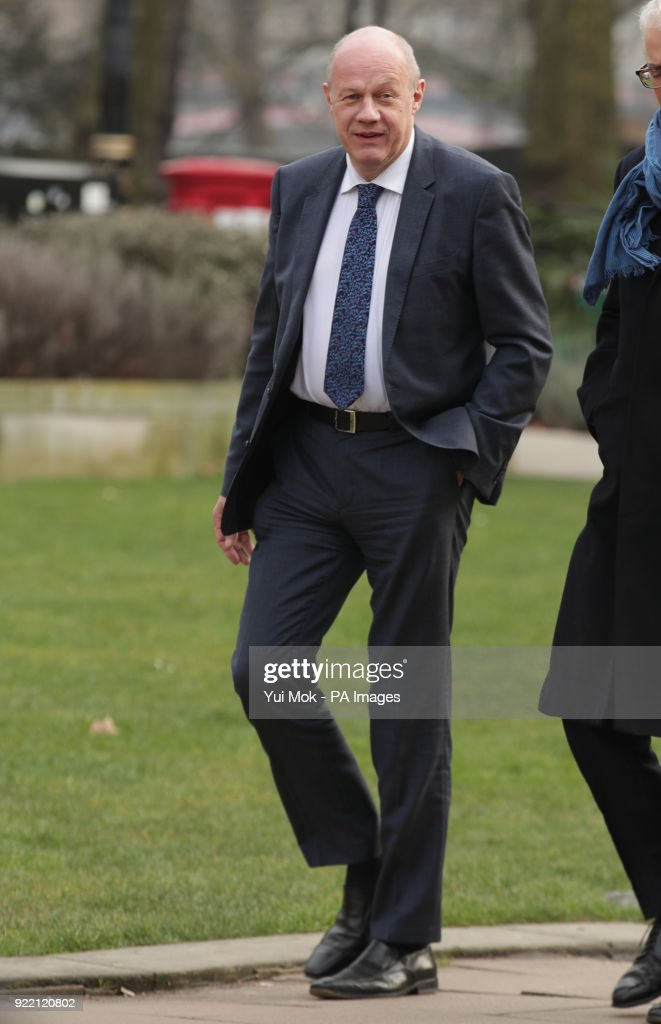 """Conservative MP Damian Green in Westminster, London, after he maintained he did not behave inappropriately when he reportedly texted a younger woman saying he felt """"compelled"""" to ask her for a drink after seeing her in a corset in a newspaper."""