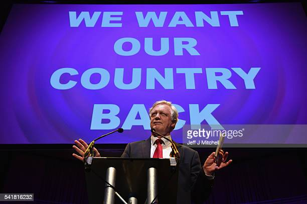 Conservative MP David Davis attends the final 'We Want Our Country Back' public meeting of the EU Referendum campaign on June 20 2016 in Gateshead...