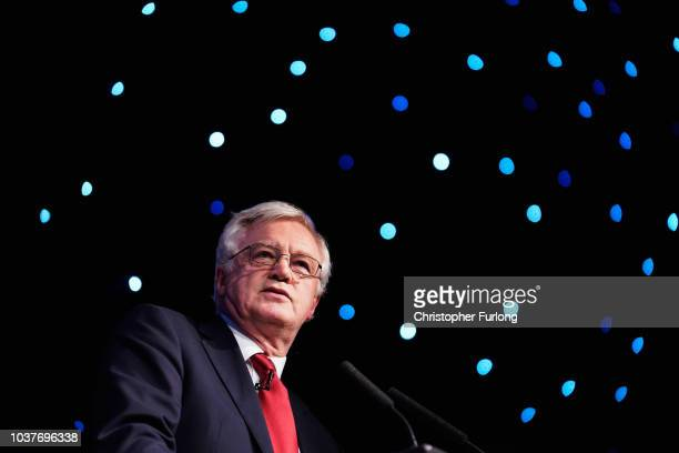 Conservative MP David Davis the former Secretary of State for Exiting the European Union gives a speech while attending a Leave Means Leave rally...