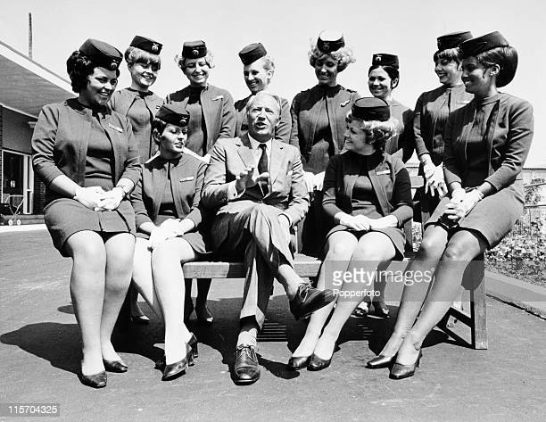 Conservative MP Edward Heath and a group of air hostesses at the renaming of Lympne Kent Airport It became Ashford Airport on 11th June 1969