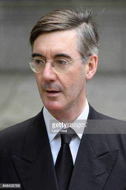 Conservative MP for North East Somerset Jacob ReesMogg arrives at Westminster Cathedral for the funeral of the late British Cardinal Cormac...