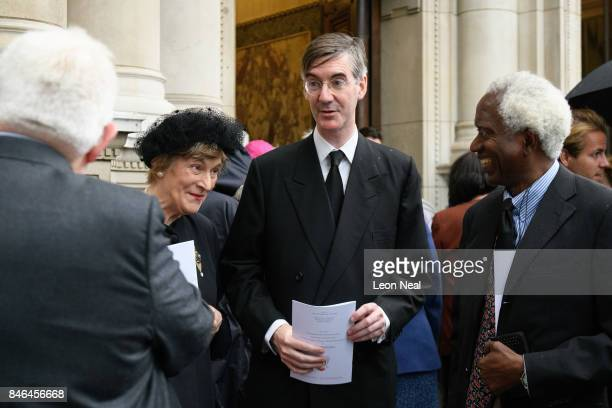 Conservative MP for North East Somerset Jacob ReesMogg stands with his mother Gillian outside Westminster Cathedral following the funeral of the late...