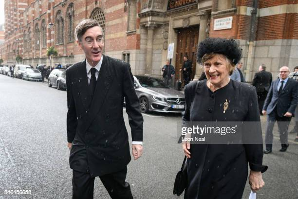Conservative MP for North East Somerset Jacob ReesMogg walks with his mother Gillian outside Westminster Cathedral following the funeral of the late...