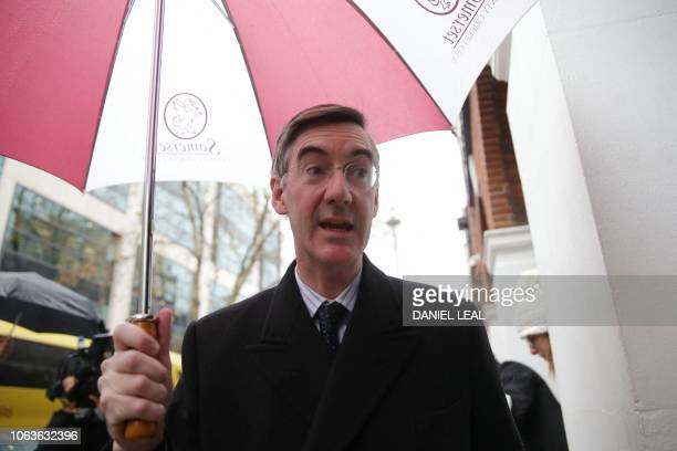 Conservative MP Jacob ReesMogg arrives to chair a pro Brexit event in central London on November 20 2018 Eurosceptic members of May's divided party...