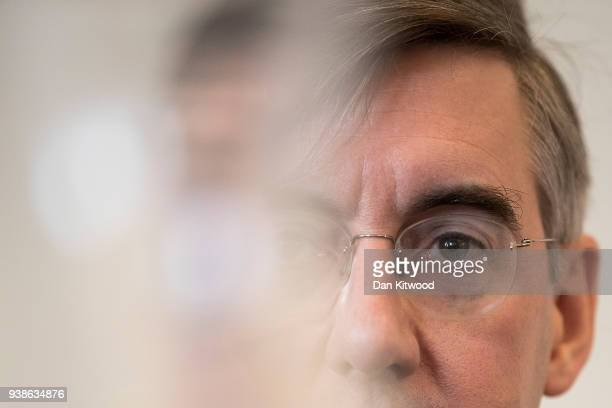 Conservative MP Jacob ReesMogg gives a Brexit speech at Carlton Gardens on March 27 2018 in London England The speech was hosted by the pro Brexit...