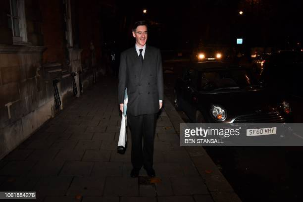Conservative MP Jacob ReesMogg leader of the hardline proBrexit European Research Group of lawmakers is seen near the Houses of Parliament in central...