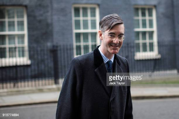Conservative MP Jacob ReesMogg leaves Downing Street after handing in a petition to Number 10 on February 8 2018 in London England Mr ReesMogg hands...