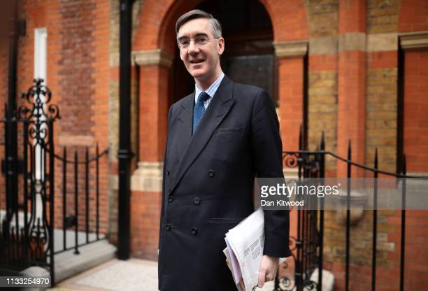 Conservative MP Jacob ReesMogg leaves his home on March 28 2019 in London England None of the eight proposals put to the vote in the House of Commons...
