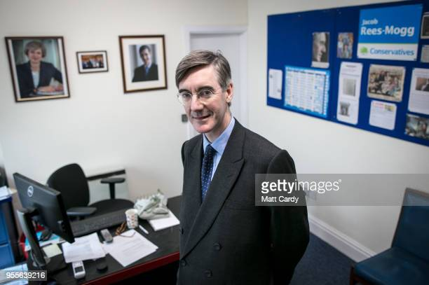 Conservative MP Jacob ReesMogg poses for a photograph in his constituency office in Keynsham on May 4 2018 in North East Somerset United Kingdom In a...