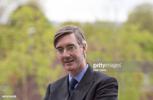 Conservative MP Jacob ReesMogg poses for a photograph near his constituency office in Keynsham on May 4 2018 in North East Somerset United Kingdom In...