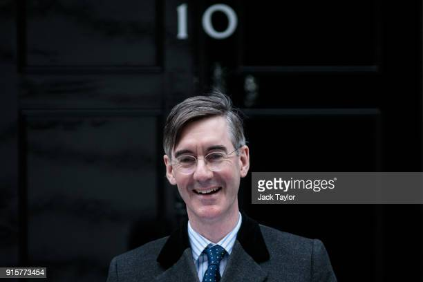 Conservative MP Jacob ReesMogg poses on the steps of Number 10 before handing in a petition to Downing Street on February 8 2018 in London England Mr...