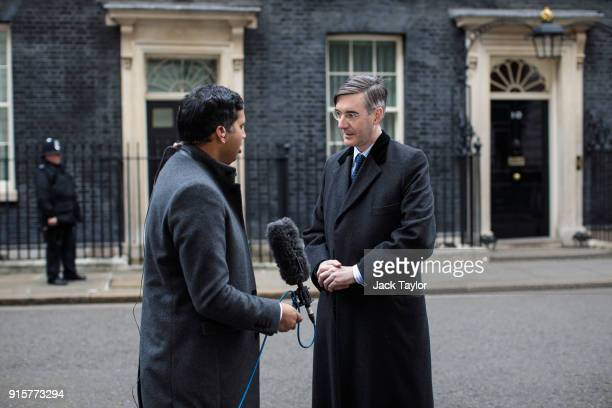 Conservative MP Jacob ReesMogg speaks to journalists on Downing Street after handing in a petition to Number 10 on February 8 2018 in London England...