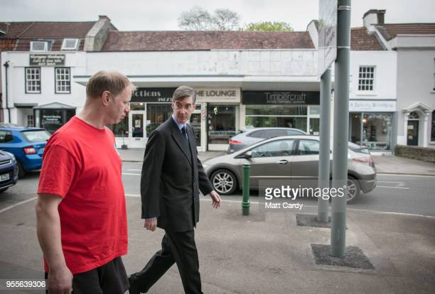Conservative MP Jacob Rees-Mogg walks along the main street near his constituency office in Keynsham on May 4, 2018 in North East Somerset, United...