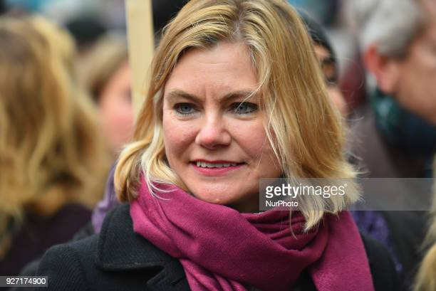 Conservative MP Justine Greening is pictured during the March4Women event London on March 4 2018 Demonstrators march through central London today...