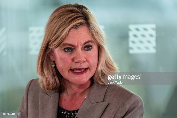 Conservative MP Justine Greening makes a speech calling for a referendum on Prime Minister Theresa May's Brexit deal at the Southbank Centre on...