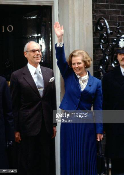 Conservative Mp Margaret Thatcher Waving At 10 Downing Street With Her Proud Husband Denis Thatcher On Taking Up Her Appointment As The First Woman...