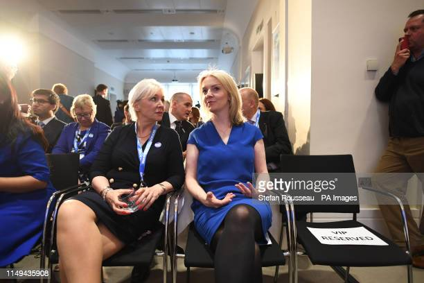 Conservative MP Nadine Dorries and Chief Secretary to the Treasury Liz Truss attend the launch of Boris Johnson's campaign to become leader of the...