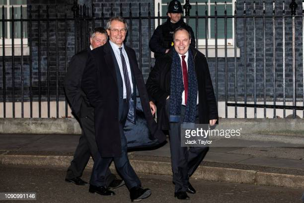 Conservative MP Owen Paterson and Deputy Leader of the DUP Nigel Dodds leave following a drinks reception at 10 Downing Street on January 07 2019 in...