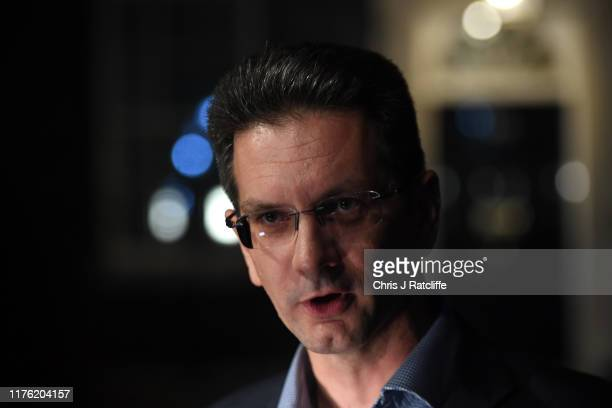 Conservative MP Steve Baker leaves Downing Street on October 16, 2019 in London, England. Boris Johnson needs to get Tory Brexiteers and The DUP to...