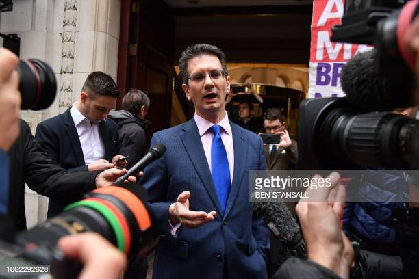 Conservative MP Steve Baker speaks to the media in Westminster near the Houses of Parliament in London on November 16 2018 British Prime Minister...