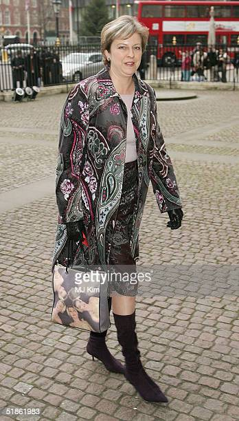 Conservative MP Theresa May Shadow Secretary of State for the Family arrives at the 'Woman's Own Children Of Courage Award' at Westminster Abbey on...