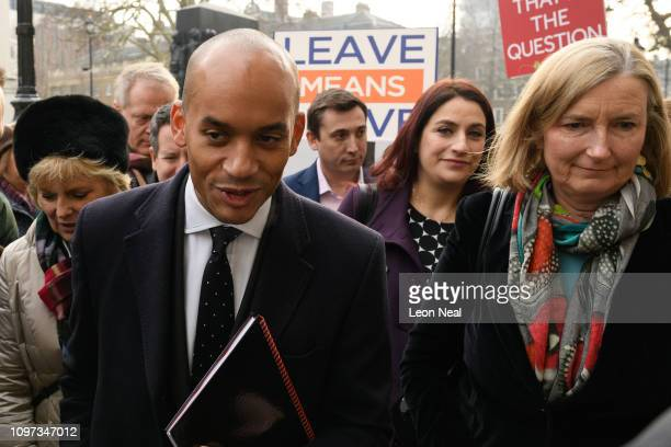 Conservative MPs Anna Soubry and Sarah Wollaston walk with Labour MPs Chuka Umunna and Luciana Berger as they arrive at the Cabinet Office ahead of a...
