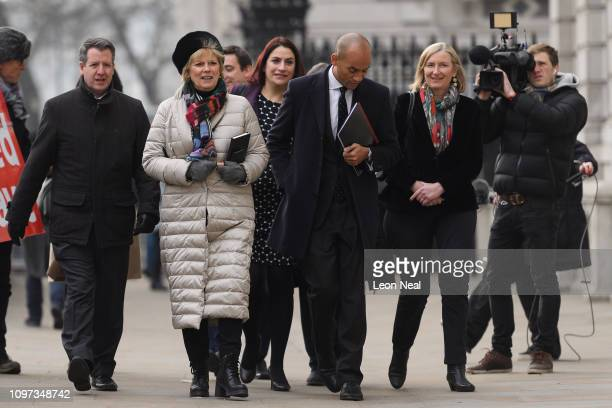 Conservative MPs Anna Soubry and Sarah Wollaston walk with Labour MPs Chris Leslie Luciana Berger and Chuka Umunna as they arrive at the Cabinet...