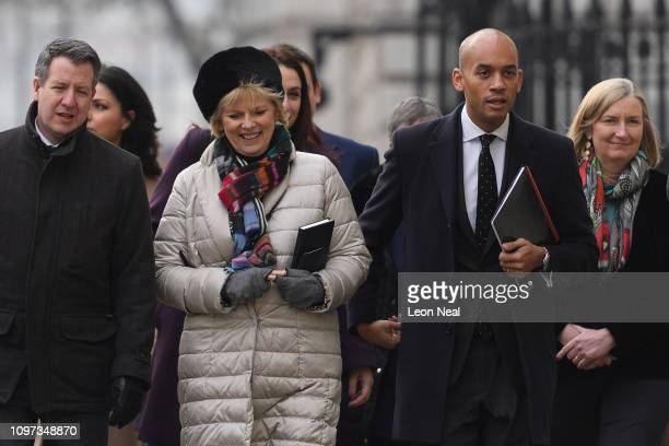 Conservative MPs Anna Soubry and Sarah Wollaston walk with Labour MPs Chris Leslie and Chuka Umunna as they arrive at the Cabinet Office ahead of a...