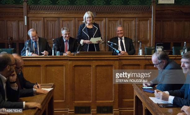 Conservative MP's Cheryl Gillan Geoffrey CliftonBrown Charles Walker and Bob Blackman read out the results of the first ballot in the Tory leadership...
