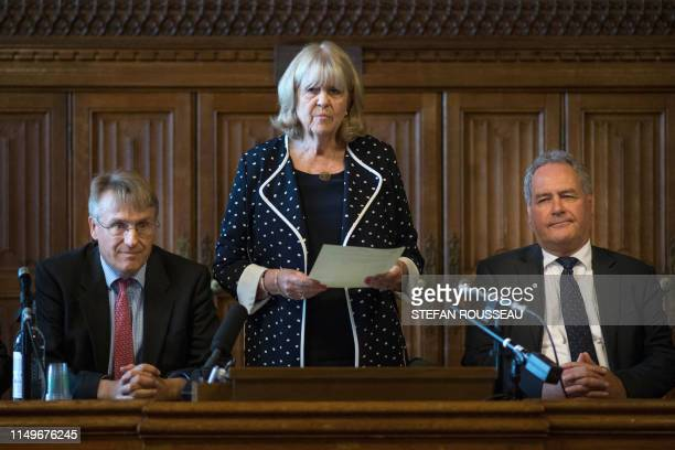 Conservative MP's Cheryl Gillan with Charles Walker and Bob Blackman read out the results of the first ballot in the Tory leadership ballot at the...