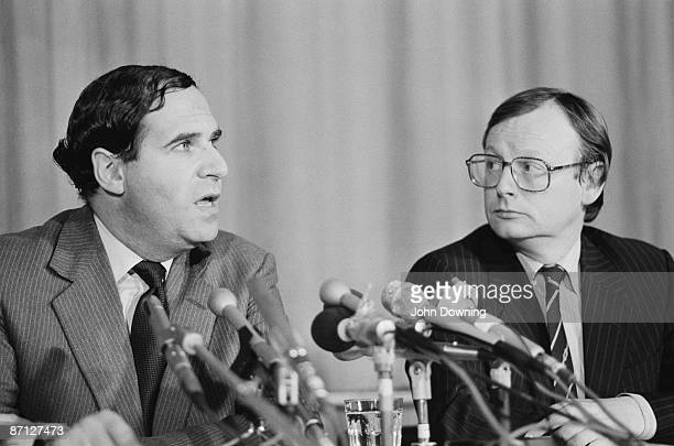 Conservative MPs Leon Brittan and John Selwyn Gummer at the Conservative Party Conference in Brighton October 1984