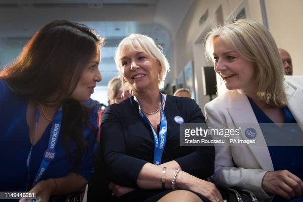 Conservative MPs Priti Patel and Nadine Dorries and Chief Secretary to the Treasury Liz Truss attend the launch of Boris Johnson's campaign to become...