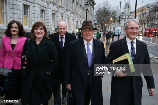 Conservative MP's Theresa Villiers Nicky Morgan Damian Green Iain Duncan Smith and Owen Paterson leave the Cabinet Office on Whitehall in central...