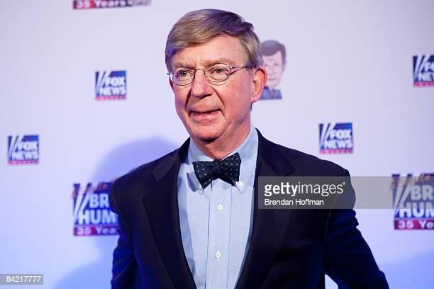 Conservative newspaper columnist George Will poses on the red carpet upon arrival at a salute to FOX News Channel's Brit Hume on January 8 2009 in...